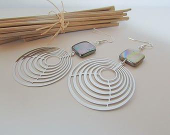 Earring print stainless steel - Pearl - 8.5 cm - r71