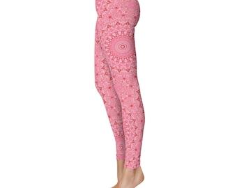 Pink Leggings - Printed Pink Yoga Pants for Women, Mandala Design Wearable Art Clothing
