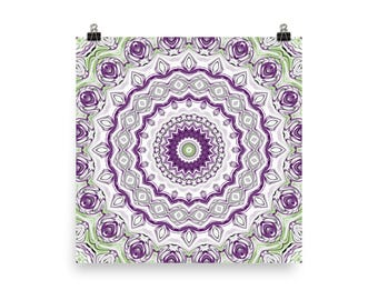Funky Wall Art, Purple and Green Mandala Home Decor, Poster Prints