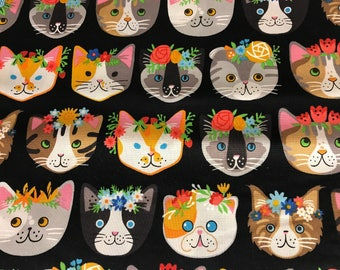 Cute cat with flower headbands fabric, cat fabric, cute fabric, animal fabric, pets, cotton fabric, flowers