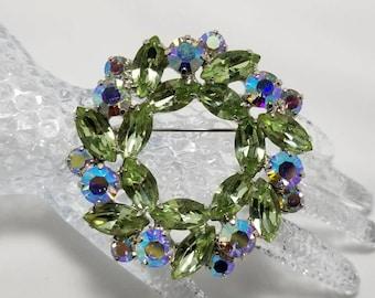 Lime Green And Aurora Borealis Stone Pin