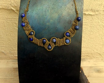 Handmade macrame necklace with Lapis Lazuli beads