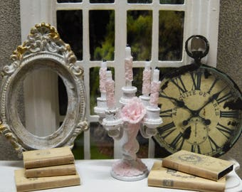 """Miniature candelabra style """"Shabby Chic"""" 1/12 scale - accessory of doll Miniature home decor"""