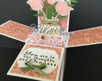 3D get well soon pop up box card - get better soon pop up card with coral flower bouquet in mason jar - you are in my thoughts & prayers box