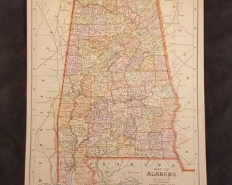 Vintage Alabama Map Etsy - Map alabama