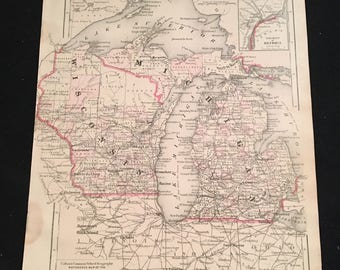 1874 Map of Michigan and Wisconsin, Original Antique Map, Hand-Colored Map by Colton