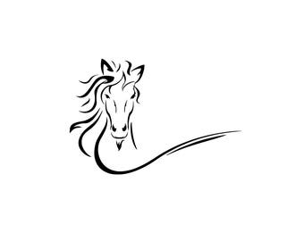 Pretty running horse head download, unique animal svg, dxf, eps, ai, png, instant download, equine equestrian silhouette, wild horse file