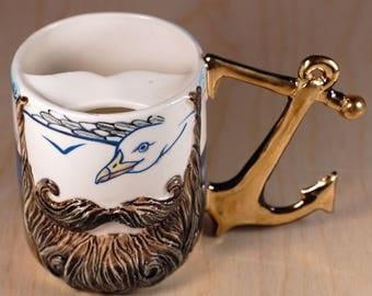 "Mustache cup ""Seafarer"" of porcelain"