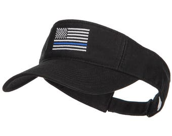 Thin Blue Line USA Flag Embroidered Washed Visor