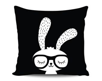 Funny Easter Gift Hipster Bunny Pillow Cute Bunny Gender Neutral Woodland Nursery Scandinavian Pillows Modern Kids Monochrome Nursery Pillow