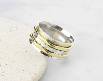 Spinning Ring Hammered Gold and Bead Spin Ring - Solid 925 Sterling Silver. 9mm Wide.