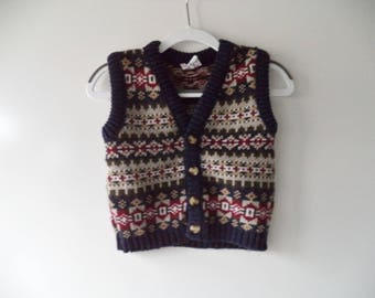 Toddlers 70s grandpa sweater vest// Winter retro hipster holiday Christmas cardigan// Baby boys size 24 mos