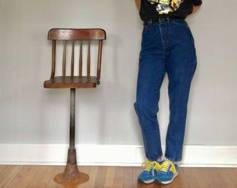 90s mom jeans// High waist Lands End USA made cotton tapered dark wash denim// Women's small 4 26W