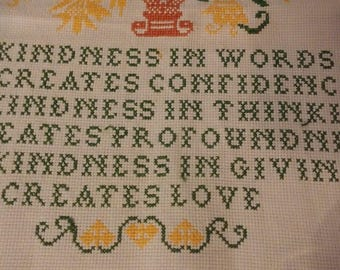 Cross Stitch Kindness Poem, Vase Flowers Linen, Completed Linen Towel, Wall Hanging, Dish Towel,