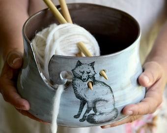 Blue Fox Pottery Yarn Bowl ceramic knitting bowl