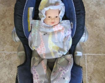 Grey with Pastel Giraffes Baby Snuggle Wrap