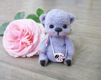 Crocheted bear Lilac, teddy bear