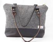 Black leather and black and white wool tweed shoulder bag