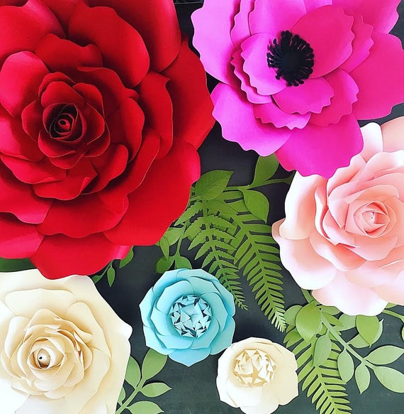 Paper Flower Wall Template: Large Backdrop Paper Flowers, Giant Flower Template And