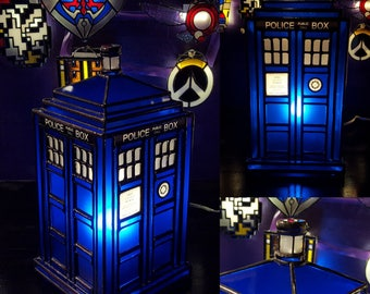 3D Stained Glass Tardis Inspired Lamp -  Commission
