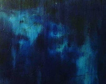 """Blue Abstract Hand-Painted Wall Art- 36"""" x24"""". Title: Mystic Coast"""