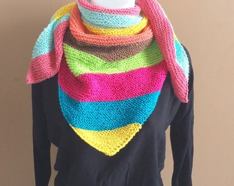 Shoulder scarf, shawl, hand warmers hand knitted multicolor cotton
