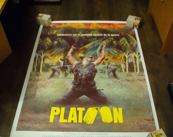 PLATOON (1986) Oliver Stone Very Rare 4 x 6 ft french Grande Rolled Giant Movie Poster Original Vintage Collectible