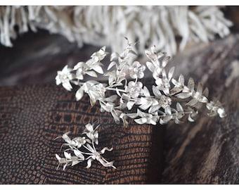 Tiara, antique myrtle corsage, Vintage Silver Bridal Tiara, Art Deco Headpiece, Silver Floral Garland
