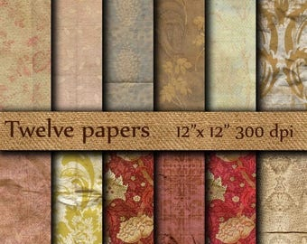 """40% OFF Vintage digital paper: """"OLD WALLPAPER"""" crumpled wallpaper , distressed paper , distressed damask  , antique paper , grunge paper"""