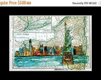 SALE POSTCARD Vintage New York MAP Cityscape Statue Of Liberty Nyc Skyline Modern Travel Big City Art Print Scott D Van Osdol 4x6 Of My Orig