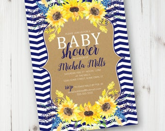 Floral Baby Shower Invitation, Summer Baby Shower Invitation, Farm, Spring Baby Shower, Custom Invitation, Printable Invite, Yellow, Blue