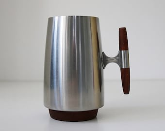 Mid Century Modern rare teak and stainless steel swedish tankard by Arthur Salm