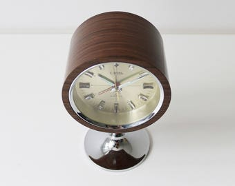 Retro space age teak effect and chrome alarm clock by Coral Japan