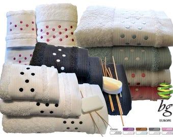 5* Top Quality Spots Bath Towels 3-4-6 Pieces Set Bath Sheet, Hand Towel, Guest Towel - Multi colours