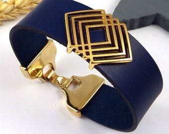 Bracelet leather cuff Navy Blue geometric flashed gold