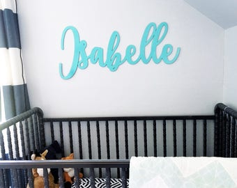 Personalized Cutout Name Sign - Turquoise Name Sign - Calligraphy - Birthday Photo Prop - Calligraphy Name Sign - Laser Cut - Tiffany Blue