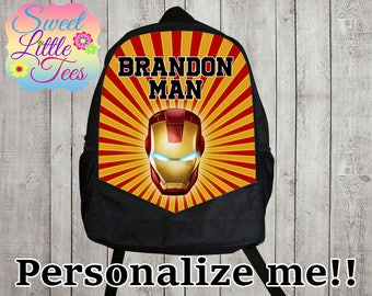 Personalized Ironman backpack/blaze shirt backpack/boys backpack/personalized boys backpack/ black backpack/B113