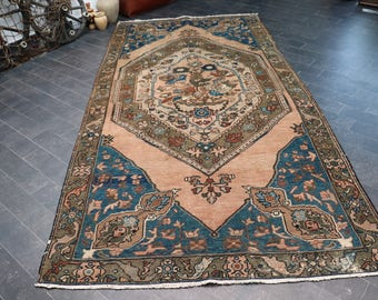 Large Size Rug, 5.1 x 10.2 Turkish Vintage Area Rug, Bohemian Rug, Turkish Rug, Oushak Rug, Free Shipping  Area Rug, Floor Rug No 1096
