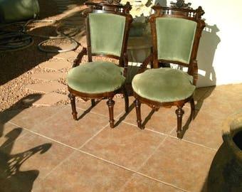 Estate Sale Original Pair Antique Eastlake Victorian Ladies Parlor Side  Chairs (1836u20131906)