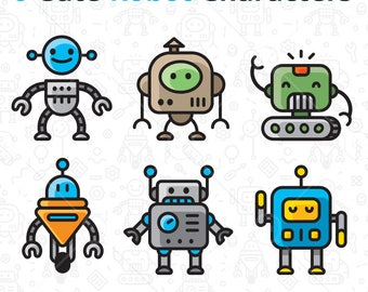 6 Cute Robot Characters