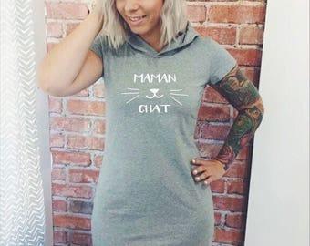 Dress has Cap sleeves for woman, Cotton spandex MOM cat black, Navy, gray or Fuchsia