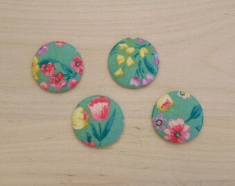 x 4 cabochons 20mm C-31 ref flowers fabric