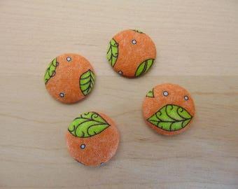 x 4 cabochons 20mm orange leaves ref TOUR5 fabric