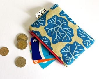 Linen coin purse with blue seaweed print and hot pink zip