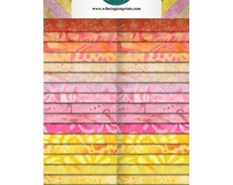 """SALE! Sweet and Sour Batiks - (40)  2.5"""" Strips (Crystals) - Wilmington Prints"""