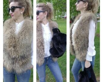 Fox fur gilet, waistcoat or vest. Golden, honey fox fur. upcycled into a unique gilet/vest.