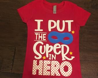 Super Hero shirt, Girl hero, super hero mask shirt