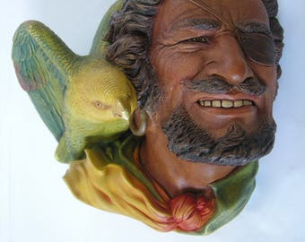 """Bossans Chalkware Wall Mask """"The Buccanneer"""" with Parrot."""