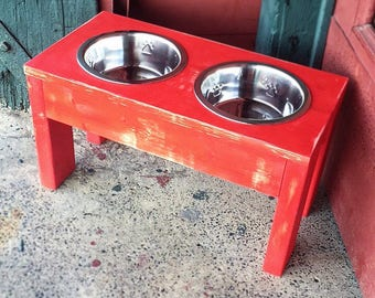 Elevated Dog Feeder - Pet Bowls - Feeder Stand - Shabby Chic - Dog Bowls - Dog Bowl Stand