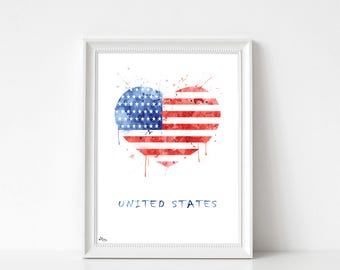 USA flag United States America illustration, poster, art print, watercolour country wedding, dorm decor gift